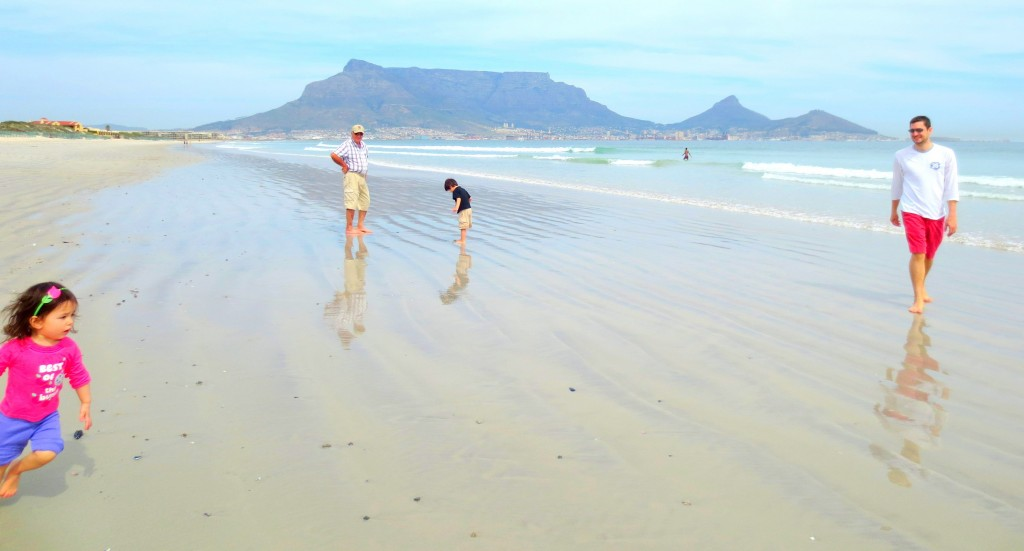 Beautiful view of Table Mountain, Lions head and Signal Hill from Lagoon Beach:)