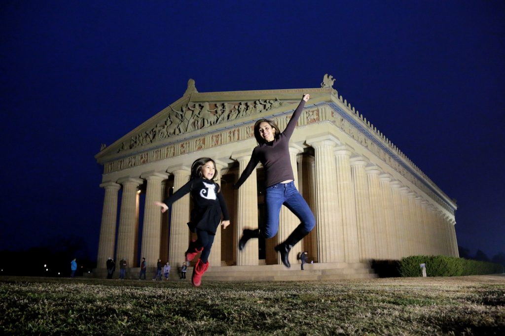 Playing around with my girl:) The Parthenon in Nashville, Tennessee is a full-scale replica of the original Parthenon in Athens.