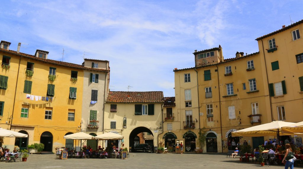Piazza dell'Anfiteatro - public square in the northeast quadrant of walled center of Lucca