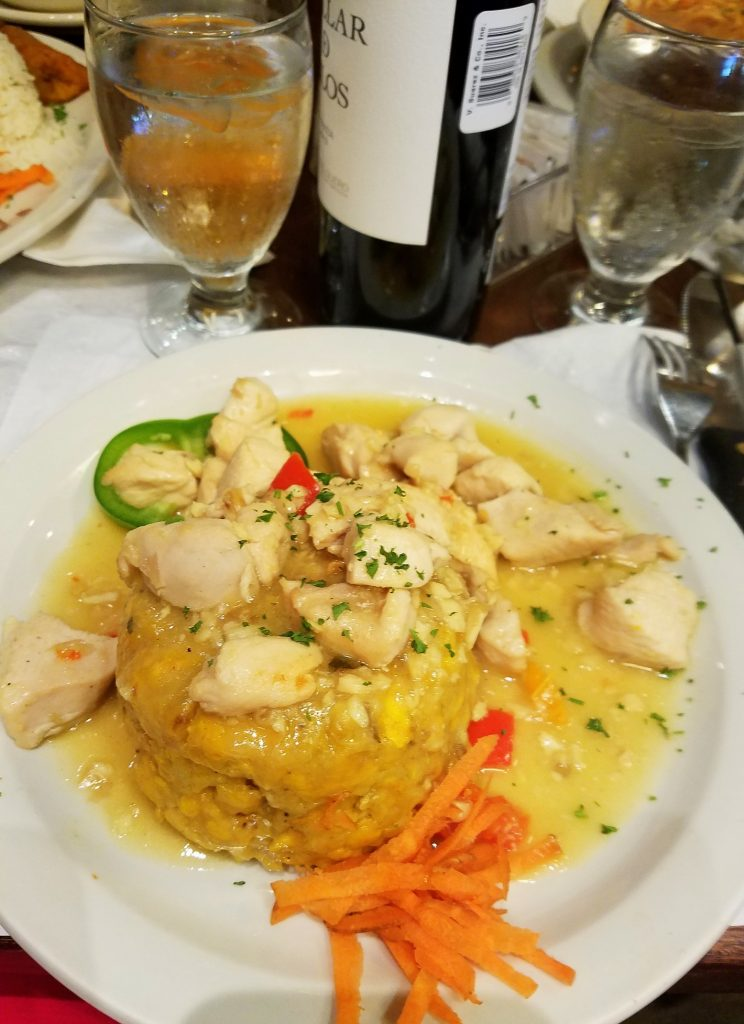 Chicken Mofongo, made of mashed plantains mixed with pork cracklings, often served as a side to a meat dish.
