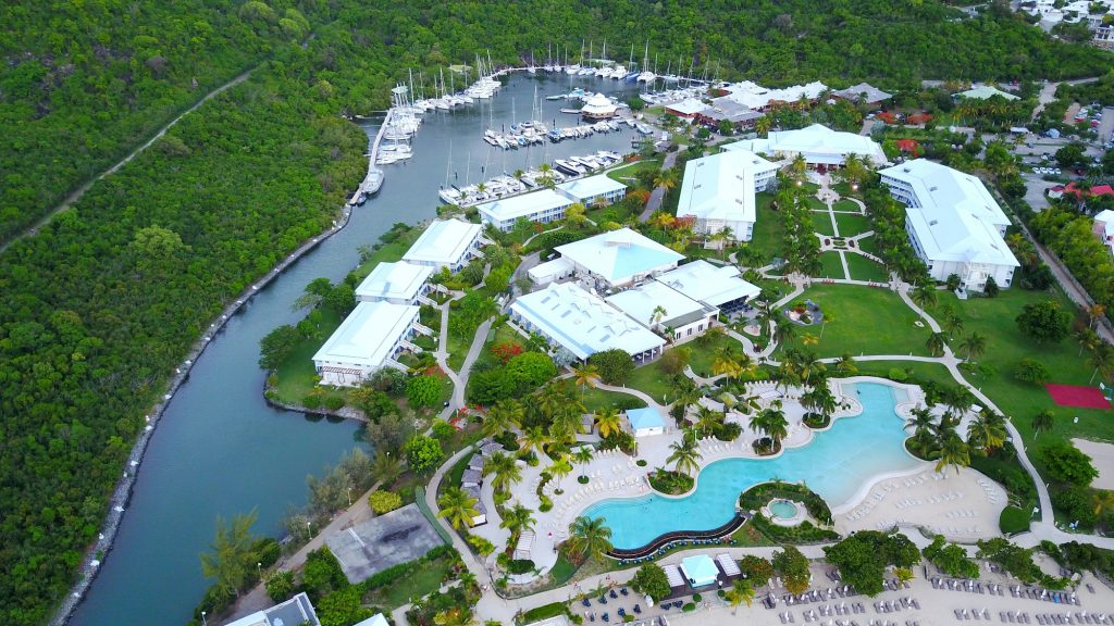 Riu Palace resort is right beside the Anse Marcel Marina