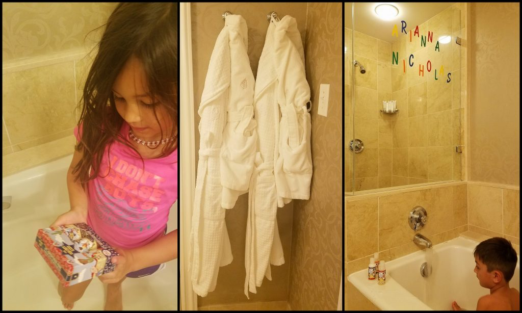 They have their own toiletries, robes and their names:)