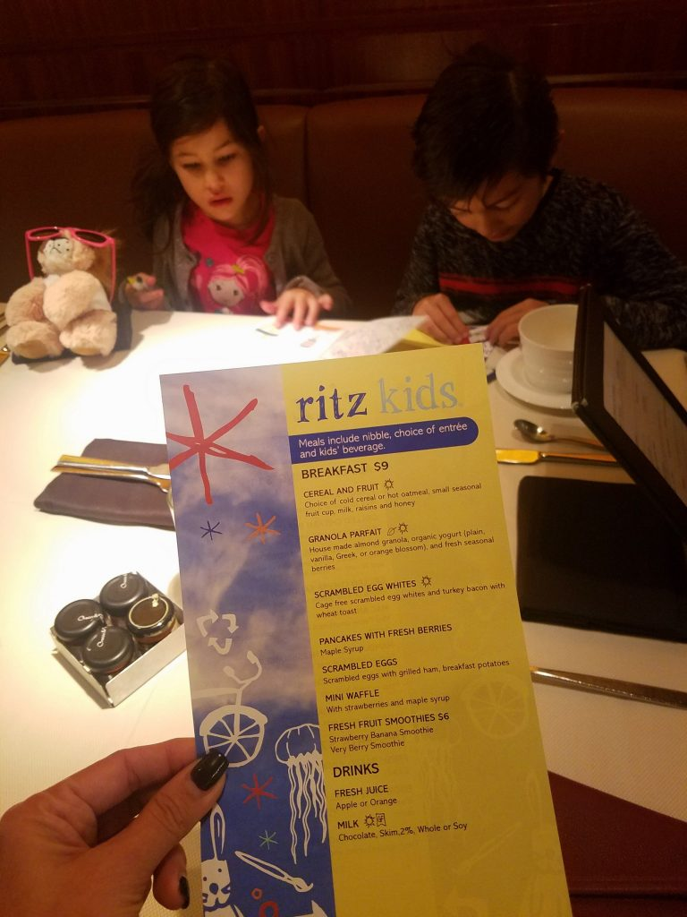 Ritz Kids Menu for the glamorous kids
